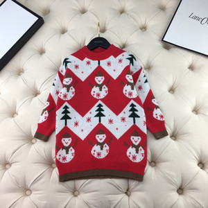 Christmas Red Sweater Dress fashion winter Kids girls Pullover Knitted Sweater Baby Sweet Girl Long Clothes