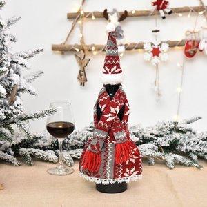 Weihnachten Champagner Flasche Abdeckung Schürze Set Design Festival Weihnachten Rotwein Flasche Abdeckung Tisch Wein Flasche Dress Up Requisiten DHA2411