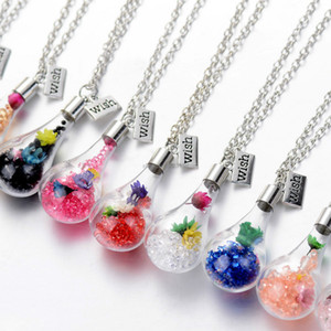 Glass Wish Floating Bottle Dried Flower Necklace Pendants women necklaces Float Locket Living Fashion jewelry will and sandy new