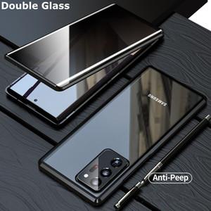 Gizlilik Manyetik Kılıf Samsung Galaxy Not için 20 Ultra Çift Cam Metal Tampon Anti-Peep Kapak Samsung Note20 S20 Artı