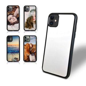 TPU + PC Boş 2D Süblimasyon Durumda Isı Transferi Telefon Kılıfları iPhone 12 11 Pro x XS Alüminyum Ekler ile Max 7 8 8 Artı