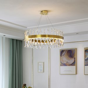 New gold crystal chandelier lights for living room dining room bedroom foyer luxury chandeliers lamps creative led pendant lighting