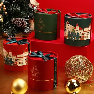 Christmas Eve Apple Packaging Box Cylindrical Castle Pattern Paper Candy Case With Bowknot Ribbon Storage Organizer Party Supply 3 9yw E1