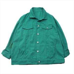 PERHAPS U Green Brick Red Purple Dark Green Section Denim Jacket Button Long Sleeves Loose Jean Jackets Turn Down Collar C0215