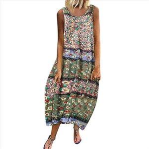 2019 Fashion Dress Women Vintage Bohemian Print Floral Sleeveless O Neck Straps Maxi Dress Girls Color Loose Female 724