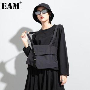[EAM] Women Black False Two Split Joint Big Size T-shirt New Round Neck Long Sleeve Fashion Tide Spring Autumn 2021 1DC742
