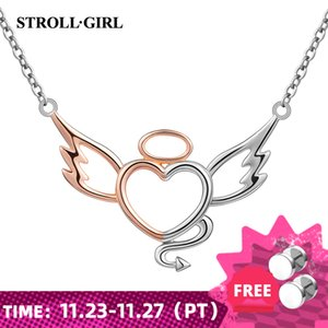 New Arrival Sterling Silver 925 Diy Design Angel&devil Chain Pendant Necklace Fashion Jewelry Making for Women Gift Z1126