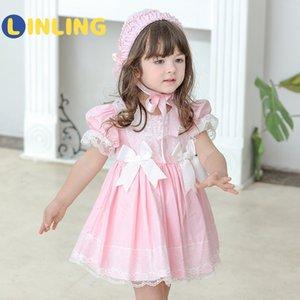 Linling Sweet Girl Summer Lolita Vestido Toddler Princess Vestido para niños Baby Girls Español Fiesta de cumpleaños Navidad Boutique P375 F1203