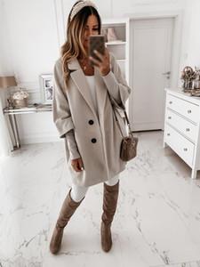 Plus Size Women Warm Long Woolen Coats Female Slim Fit Lapel Overcoat Autumn Winter Outerwear 2021 Fashion Black Coat