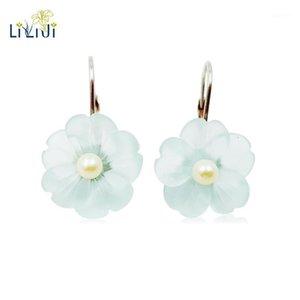 Lii Ji Real 925 Sterling Silber Natürliche Blau Kristall Blume Süßwasser Perle Ohrring1