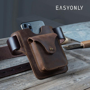 Men's Bag Portable Horse Genuine Crazy Men's Belt Bag Mobile Leather Leather Running Sports Storage Belt Ultra-thin Phone Tsbqh