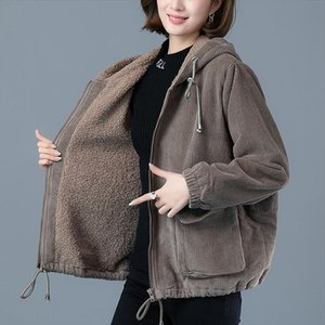 Womens Corduroy Plus Velvet Thick Warm Gray Jacket Female Autumn Winter Models Plus Size Loose Hoodie Women Windbreaker Jacket