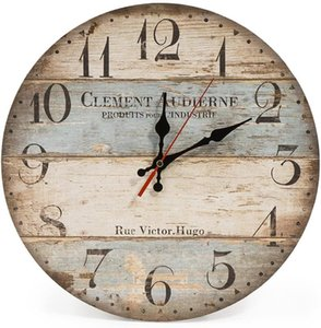Home 13 Inch Silent Vintage Wooden Round Wall Clock Arabic Numerals Vintage Rustic Chic Style Wooden Round Home Decor Wall Clock