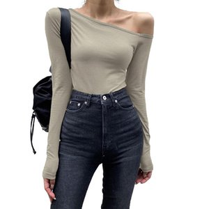 Fashion Sexy Ladies Long-Sleeved One-Piece Irregular Strapless Bottoming Shirt Slim T-Shirt Swimsuit Top