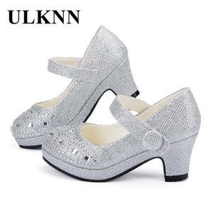 ULKNN Children Princess for Girls Sandals High Heel Glitter Shiny Rhinestone Enfants Fille Female Party Dress Shoes Q1123