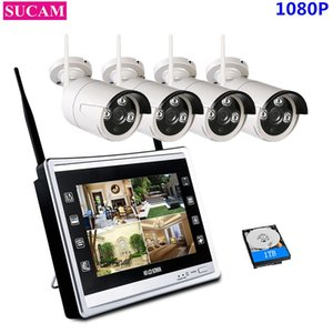 """SUCAM 4CH 1080P NVR Kit Wireless CCTV System 2MP IP Wifi Camera Outdoor Security Surveillance Kit With 11"""" LCD Monitor Screen"""