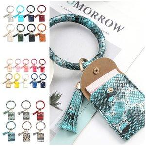 PU Leather Tassels Bangle Wallet Credit ID Card Purse Keychain Bracelet Bag Women Animal Print Key Ring Purse Party Favor T2C5231