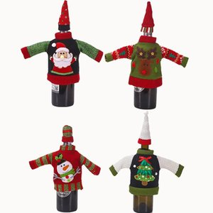 Christmas Knitted Creative Wine Bottle Cover Clothes Champagne Storage Bag Party Restaurant Christmas Dining Table Decoration