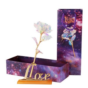 Artificial Gold Foil Plated Rose Flowers LED Lighting Flowers with Box Laser for Holiday Valentine Wedding Creative Gift HHA1132