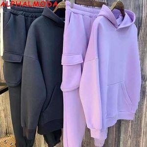 ALPHALMODA New Arrived Stylish Pocket Sweat Pants Hoodies 2pcs Suit Women Solid Thickened Fleece Warm Winter Jogger Set