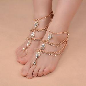 Gypsy etnico sandali a piedi nudi per scarpe da sposa Goccia d'acqua Gemstone e diamante H0271 Designer Anklet H0271