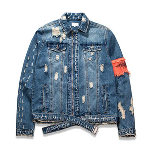 MORUANCLE Men Hi Street Ripped Denim Jackets Fashion Streetwear Distressed Jean Jacket Outerwear With Holes Patchwork Size M-XXL