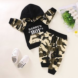 2020TALLOLY Explosive Boys Long Sleeve Letter Camouflage Hooded Sweater Trousers Two Piece Set Y1113