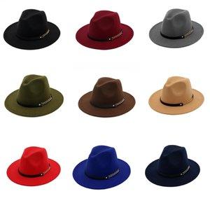 Fashion TOP Hats For Men & Women Elegant Solid Felt Fedora Hat Band Wide Flat Brim Jazz Hats Stylish Trilby Panama Caps Party Cap HH9-3702