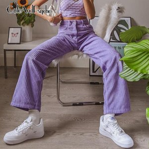 Vintage Oversize Y2K Corduroy Pantaloni Donne Streetwear Fashion Fashion Harajuku Pantaloni a gamba larga vita alta Pantalone estetico CuteAndpsycho