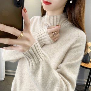 Womens Sweater Loose Outer Wear Autumn and Winter 2020 New Half Turtleneck Solid Color Internet Celebrity Knit Low Waist Jersey Womens Inner