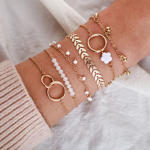 Círculo flores hoja encanto pulsera joyería mujer moda chapado oro cadena de oro 6 piezas conjunto personalidad nuevo patrón 4 6yg J2