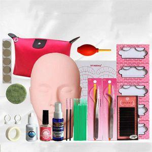1Set Makeup Lash Starter Kit Eyelash Individual False Extension Practice Set Mannequin Practice Training Head