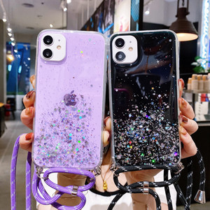 Shiny Bracket lanyard phone case for iphone 12 11 pro max mini xr x xs max 7 8 6 6s plus se2020 Soft silicone back cover