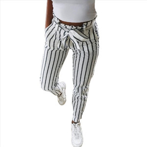 Skinny Striped Women Long Jeans Tie High Waist Ladies Pants Trouser Drawstring Casual Skinny Ankle Length Pants W327