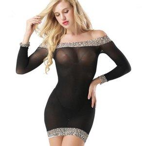 Été pleinement Sexy Sleep Tops pour femme Lingerie Slim Nightdress Léopard Soft Sleep Robe De Sleep Hightwear Vêtements Pajamas1 VIIWQ
