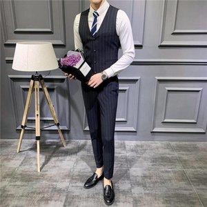 2 piece Male Formal Business Plaids Suit for Men's Fashion Boutique Plaid Wedding Dress Suit (Vest + Pants )