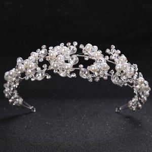 Tuanming Kristal Inci Çiçek Gelin Bantlar Kadınlar Gümüş Prenses Düğün Saç Takı Tiara Hairbands Saç Aksesuarları Taç Y200409