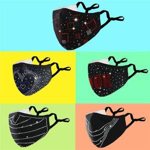Moda diseñada para mujeres Party Face Masks de tela con lentejuelas Masas de la boca para el desgaste del día de San Valentín puede insertar PM2.5 Filtros FY0115