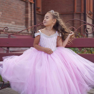 Pink Beaded Crystals Flower Girl Dresses Ball Gown Tulle Little Girl Pageant Dresses Wedding Dresses Vintage Communion Gowns