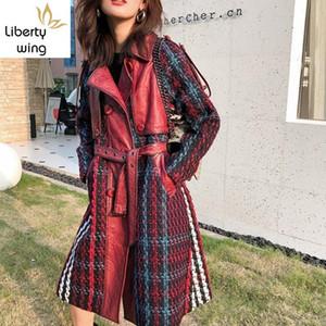 Brand Runway Women Winter Sheepskin Genuine Leather Long Jacket Belt Slim Fit Office Lady Spliced Twill Trench Coat Windbreaker