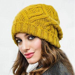 Women Autumn Winter Soft Warm Beanie Hat Knitting Cap Woolen Yarn Solid Beige Pink Hats Sport Bonnet Docker Fisherman wear