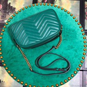 Diseñador de lujo 5A Mujeres 24 cm Marmont Matelassé Bolso de hombro de cuero real, hardware de tonos dorados antiguos, cierre de resorte de colgajo, con caja + bolsa de polvo