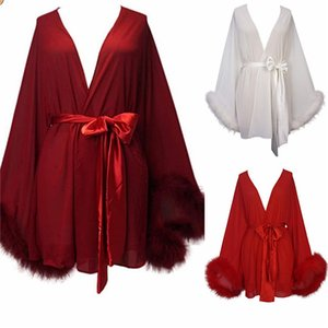 Sexy Short Bridal Jackets with Long Sleeves Fur Nightgowns for Photoshoot Boudoir Lingerie Women Pregant Dress