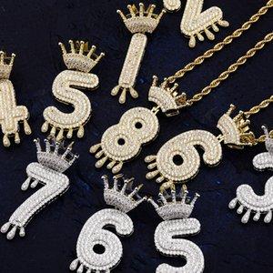 Colgante colgante Hip Hop Jewelry Mens Necklace Diamond Vintage Crown Número Colgantes para Women Wedding