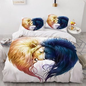 3D Animal Yin Yang Design Bedding Set Duvet Cover Set Comforter Bed Linen Double King Queen Single Size Lion Home Textile