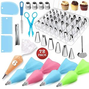 72pcs Cake Decorating Supplies Sets with Icing Tips, Pastry Bags, Icing Smoother, Piping Nozzles Coupler DIY Baking Pastry Tools