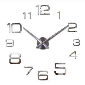 NEW Hot sale ! DIY large wall clock modern design decorative mirror digital relogio de parede 3d wall watch stickers clocks 201202