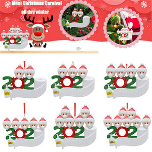 New Christmas Tree Gift Party Pendant Resin Snowman Christmas Decoration Santa Family Name DIY 2020 Christmas Ornament