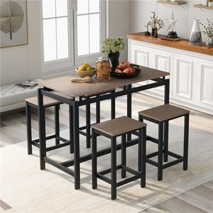 US STOCK TREXM 5-Piece Kitchen Counter Height Table Set Dining Table with 4 Chairs Fast Shipping