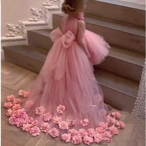 Tulle Flower Girl Dresses for Weddings High Neck Sleeves Sweep Train 3D Floral Applique Communion Dress Girls Pageant Gowns